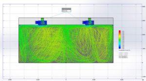 Etude de diffusion des températures du flux d'air interne de la pièce en 2D