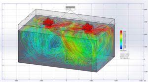 Etude de diffusion des vitesses du flux d'air interne de la pièce en 3D