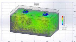Etude de diffusion des températures du flux d'air interne de la pièce en 3D