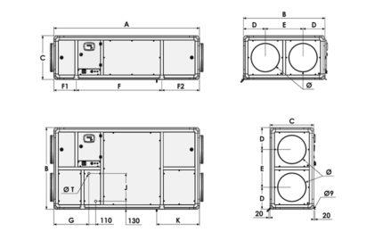 Dimensions CARMA 9008 à 9048